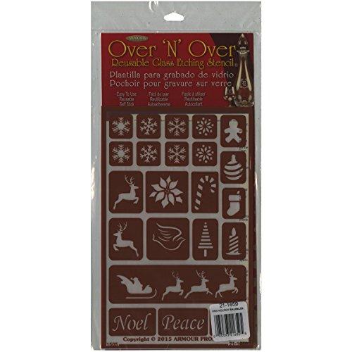 Armour Products-Over 'N'Over in plastica Riutilizzabile Stencils 5 cm x 8 cm, Motivo: Palline di Natale Vacanze