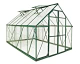 4mm twin wall roof panels block up to 99.9% of UV rays and crystal clear virtually unbreakable polycarbonate panels that provide 90% light transmission Rust resistant aluminum frame powder coated green 96 sq. ft. of growing space and 7.5' of head roo...