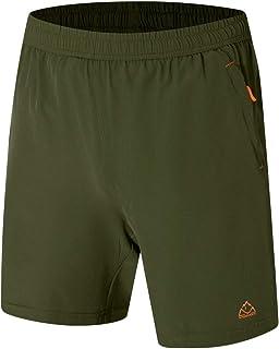BGOWATU Men's 7 Inches Workout Running Gym Shorts Lightweight Jersey Short with Zipper Pockets