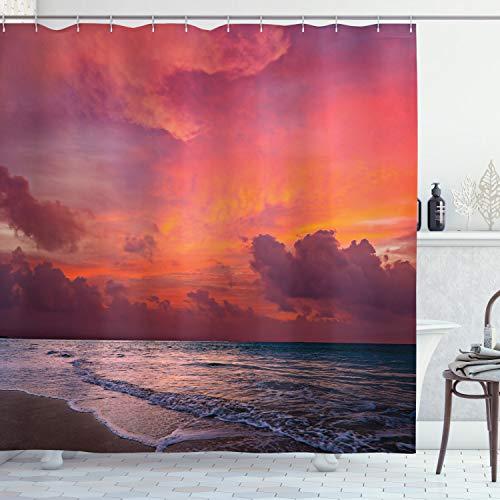 "Ambesonne Balinese Shower Curtain, Calm Ocean Shoreline on Tropical Sunrise. Bali Indonesia Wavy Sunbeams Scenic, Cloth Fabric Bathroom Decor Set with Hooks, 70"" Long, Pink Orange Tan"