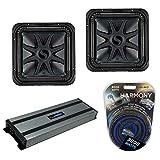 Kicker (2) L7S12 Car Audio Solo-Baric 12 Subwoofer Square L7 Sub 44L7S122 Bundle with Harmony HA-A1500.1 Amplifier & Amp Kit