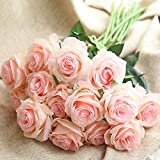 Amzali Artificial Flowers, Real Looking Blush Fake Rose Long Stem Silk Artificial Rose Flowers Home Decor for Bridal Wedding Bouquet, Centerpieces Birthday Flowers Party Garden floral Arrangement Pink