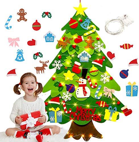 Vinyl Etchings DIY Felt Christmas Tree 3.2ft with 32 pcs Ornaments and 50 LEDs String Lights Kid's Wall Hanging Xmas Tree Christmas Decoration for Children (Style 1)