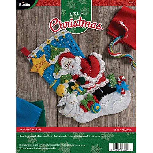 Bucilla 86896 Christmas Stocking Felt Applique Kit, 18', Santa's Gifts