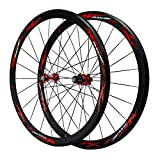 ZPPZYE 40MM V Brake Bicycle Wheelset 700C, Aluminum Alloy Road Cycling Wheels Rim Sealed Bearings Hub 24 Hole for 7 8 9 10 Speed (Color : Red)