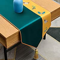 結婚式の刺繍のテーブルランナーイエロー&グリーン、120-320cmロングダイニングタッセルテーブルスカーフ台所の食事、洗える (Color : B, Size : 34×320cm/13.4×126inch)