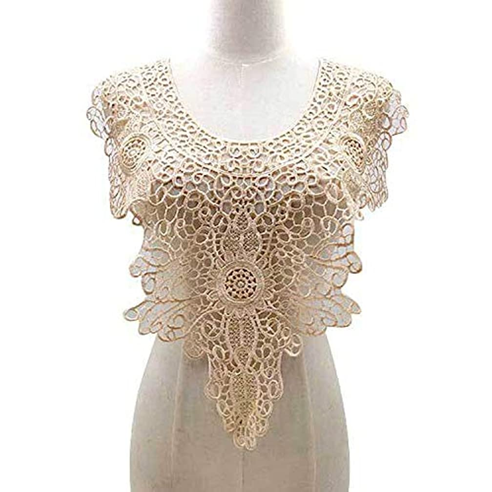 1 Pcs Large Water-Soluble Collar Hollow Fake Collar Embroidery Collar DIY Lace Accessories Embroidery Applique Garment Bra Decoration (Apricot)