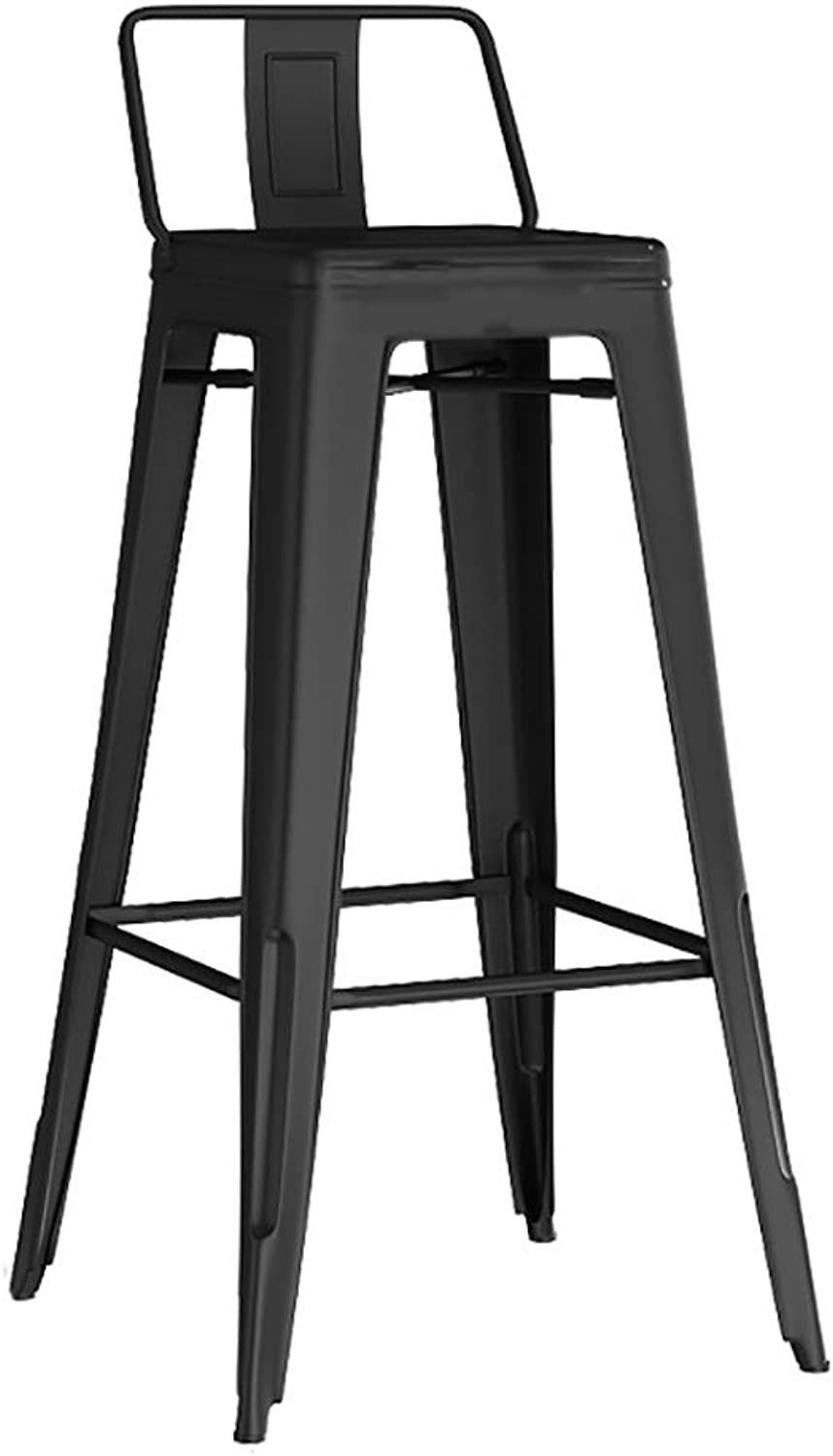 FEI Teng Iron Retro Bar Stool Bar Chair Backrest Front Lounge Chair Comfortable Dining Chair Breakfast Stool, Black, Sitting Height 76CM