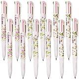 Shulaner 12 Packung 4 Farben Retractable Kugelschreiber Multicolor Stifte Tinte Blume Gel Ink Kugelschreiber für Büro Schulbedarf Studenten Kinder Geschenk