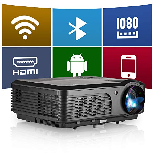 """WiFi Bluetooth 1080P Projector, 4600 Lux HD Projector with 200"""" Display, Outdoor Movie Wireless Mirroring Projector for Smartphone, Support Zoom, Compatible with Laptop, Android, PC, TV Box, PS4"""