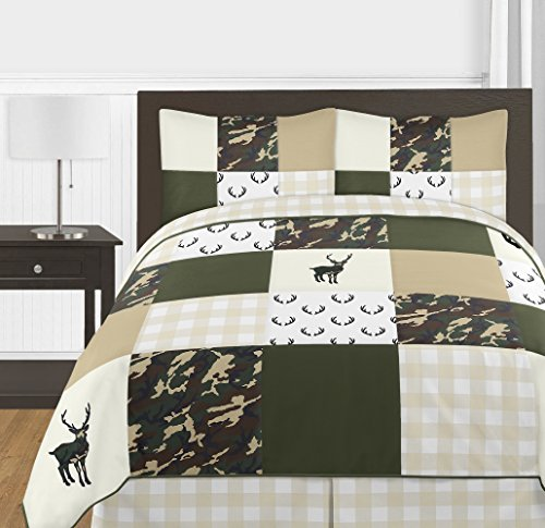 Sweet Jojo Designs Green and Beige Deer Buffalo Plaid Check Woodland Camo Boy Full/Queen Teen Childrens Bedding Comforter Set - 3 Pieces - Rustic Camouflage