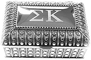 Desert Cactus Sigma Kappa Engraved Pin Box Sorority Greek Decorative Trinket Case Great for Rings, Badges, Jewelry Etc. (Beaded Chest Pin Box)
