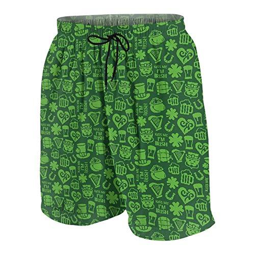keiou Pantalones de Playa para Adolescentes,Kiss Me Im Irish Frase humorística con Ale Shamrocks Sombreros Símbolos Tradicionales,Ropa de Playa Trajes de baño Shorts de Playa M