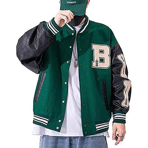 Yokbeer Chaqueta de Béisbol para Hombre Chaqueta Universitaria Abrigo Unisex Vintage Sudadera con Letras Chaqueta de Motociclista (Color : Green, Size : M)