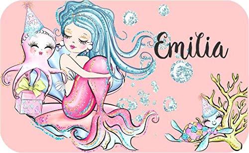 wolga-kreativ Aufkleber wasserfest-e Meerjungfrau für Brotdose Wunschname personalisiert mit Name-n Schulanfang Namensaufkleber Namensetiketten Mädchen Junge Kinder Schule selbstklebend