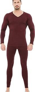Aimado Mens Soft Thermal Underwear Set Long John Set Fleece Lined Base Layer Top and Bottom