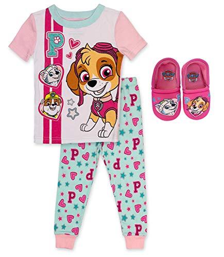 Paw Patrol 2 Piece PJ Set with Slipper Bundle,Pink,100% Cotton,Toddler Girl's Size 2T