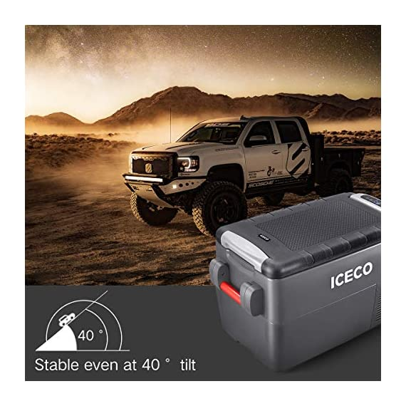 ICECO JP30 Portable Refrigerator, 12V Car Fridge Freezer, 31 Liters Compact Refrigerator with Secop Compressor, for Car… 6 ※ 【FREE PARTS】- Insulated Protective Cover & 12 Feet-Long Extend DC Power Cable. ※ 【MAX & ECO MODE】- This function allows the compressor speed to be slowed down to increase operational efficiencies(ECO) or increase the compressor speed to provide ''quick'' cooldown times(MAX). ※ 【NO ICE NEEDED】- Adjustable Temperature From -7℉~50℉(-22℃~+10℃). How Danfoss compressor works: for the purpose of saving energy, the compressor will stop operating when the freezer up to the set temperature and the compressor will restart to operating when the temperature in the box has risen 6℉-9℉.