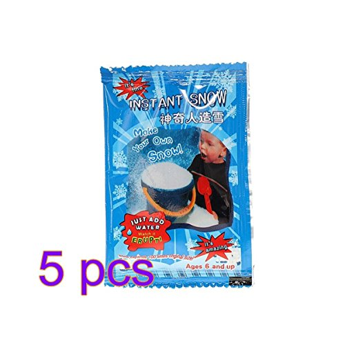 Leeba 5 x 9 g Magic Instant Fake Snow Powder für Schleim, Basteln, super saugfähig, Weihnachtsbaum, Hochzeitsdekoration