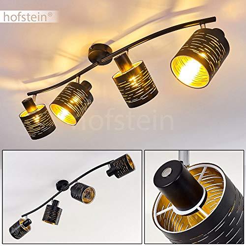 Deckenleuchte Bathinda, Deckenlampe aus Metall/Kunststoff in Schwarz/Gold, 4-flammig, 4 x E14-Fassung max. 15 Watt, Spot im Retro/Vintage Design, Gitter-Optik u. Lichteffekt an der Decke, LED geeignet