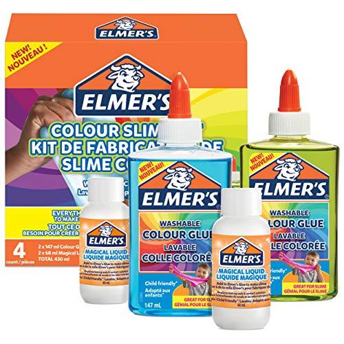 Elmer's Kit Slime de Color Translucido, incluido pegamento de PVA, surtido de colores, con activador líquido mágico, 4unidades