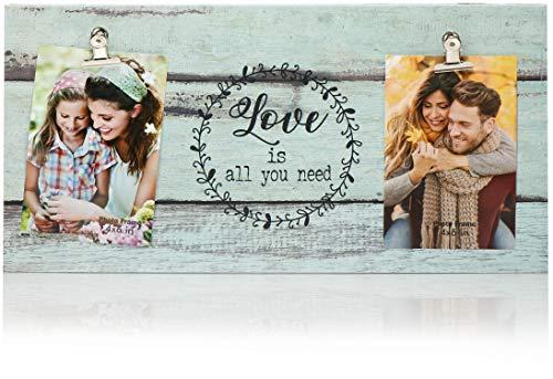 com-four Marco para Fotos Love - Marco para Fotos en Diferentes tamaños - Marco para 2 Fotos para Colgar (01 Pieza - Love)