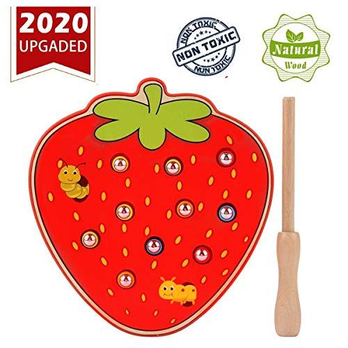 Felly Montessori Juguetes 1 año, Juego de Atrapar Insectos de Fresa Madera Juguetes Educativos para Niños y Niñas de 2 3 4 años, Niños Pequeños Regalo