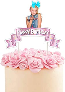 Jojo Blue Bow Cake Topper Birthday Party Decoration Toppers - Pink Ribbon Shape