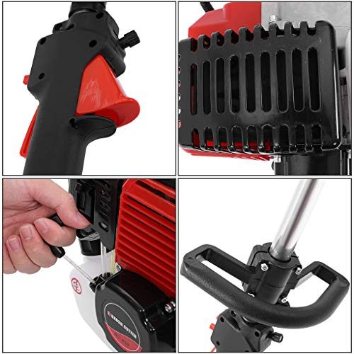 Kuhxz 5 in 1 52cc Portable Petrol Cordless Hedge T-Rimmer, Multifunctional Brush Cutter,Strimmer,Pruner,Hedge Trimmer and Extension Pole Chainsaw Brush Cutter Pole Saw Outdoor Tools for Tree Trimming