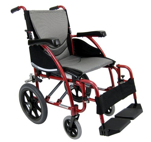 Karman Healthcare S-115-TP Ergonomic Ultra Lightweight Manual Wheelchair, Pearl Silver, 18' Seat Width