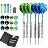 LARRITS 6 Pack 22 Grams Steel Tip Darts Set with Aluminum Dart Shafts, Include 18 pcs Dart Flights + 6 pcs Spare Aluminum Dart Shafts+ 6 pcs Rubber O-Rings + Dart Sharpener + Storage Case
