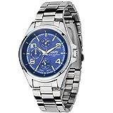Antilog Watch,Nary Fashionable Men Business Steel Band Waterproof Quartz Wristwatch Watch(BLUE)