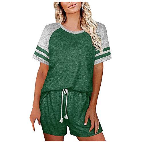 Donasty Schlafanzug Damen Kurz Pyjama Sommer Kurzarm Pyjamas Set Star Nachtwäsche Set Baumwolle Zweiteiliger mit Damen Pyjamahose und Shirt Rundhals Sleepwear für Sommer
