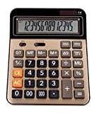 Mengshen Calcolatrice da Tavolo Batteria Solare Calcolatrice Standard Lavoro a Doppia Alimentazione Display LCD di Grandi Dimensioni a 14 cifre Conveniente per Ufficio e casa (Gold)