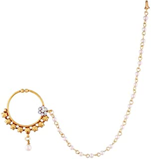 Aheli Indian Wedding Nath AD Nose Ring Hoop with Pearl Chain Ethnic Traditional Jewelry for Women