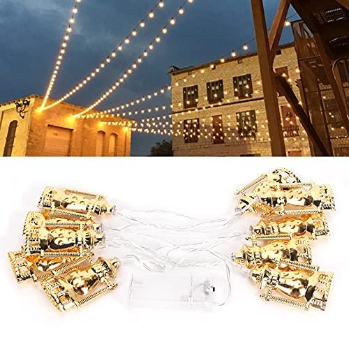 Luz Decorativa, Forma de lámpara de Aceite de Oro Ligero de Cadena 10LED para jardín para el hogar para decoración de Patio