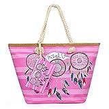 Comius Sharp Bolso de Playa Grande, Bolsa de Playa para Mujer, Totalizador de Lona Shopper Bolsa de Hombro, Impermeable con Cremallera (C)