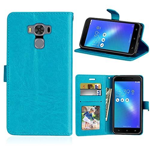 ShuiSu Funda con tapa para Asus Zenfone 3 Max ZC553KL 5.5 pulgadas, cuero sintético de alta calidad, cierre magnético de silicona suave, con función atril, bolsillos para tarjetas, color azul