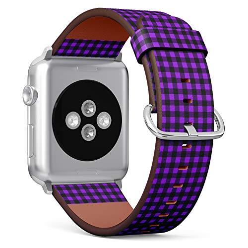 Compatible con Apple Watch de 38 mm y 40 mm – Correa de Reloj de Cuero con Cierre de Acero Inoxidable y adaptadores (Buffalo Tartan Plaid Proton púrpura)