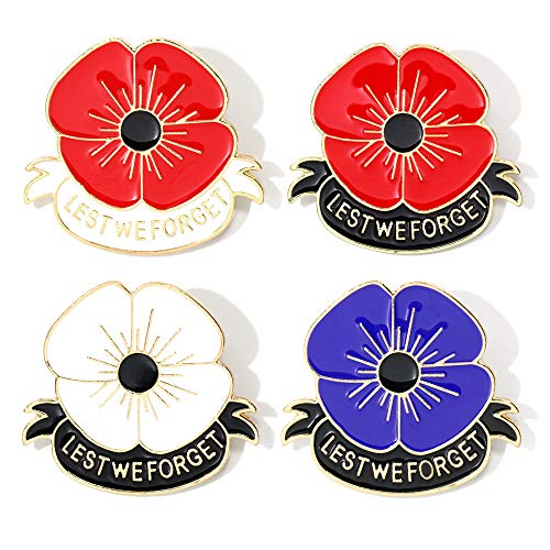 tagdot Royal British Legion Poppy Badges and Pins 2020 New Remember Lest we Forget (4 Colors - a Pack 4.8-4.2 cm)