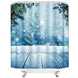 OFila 183 x 183 cm Winter Duschvorhang für Badezimmer, traumhafte Weihnachtskiefer, Schneeflocken-Duschvorhang-Set, ästhetische Natur, Schneeszene, Duschvorhang für Badezimmer, Bad-Tür-Dekoration