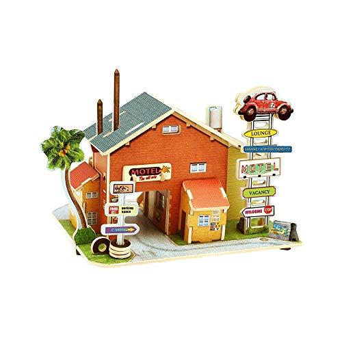 RecontraMago Puzzle 3D - Colección Casas y Edificios del Mundo - Rompecabezas de Madera- Juguetes para niños y Adultos … (Japon Tienda) (America Taller)