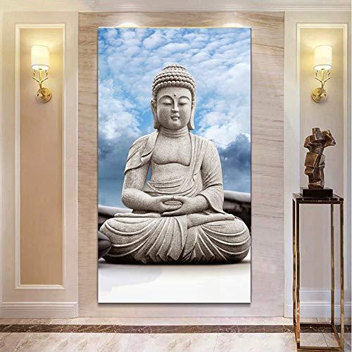 Moderne Stein Buddha Poster und Druck Wandkunst Landschaft Buddha Leinwand Wohnzimmer Dekoration,Rahmenlose Malerei,50x90cm