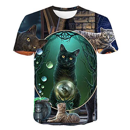 T-fashion shop Camisetas 54D Patrón Impreso Camisetas Gracioso ,3D Tridimensional Divertido Gato impresión Camiseta Camiseta de Manga Corta para hombres-19_L
