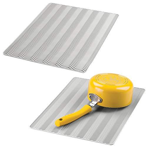 mDesign Juego de 2 alfombrillas antideslizantes de silicona – Práctico tapete escurridor con dibujo de espiga para ollas y vajilla – Escurreplatos para la cocina apto para lavavajillas – gris claro