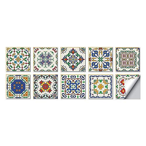 Patrón de color Azulejos Adhesivos Cocina e Baño Pegatinas de Baldosas Vinilos decorativo de Muebles Vinilos pared Baño Cocina Azulejos,10 Piezas -15x15cm