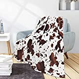 KING DARE Cow Print Blanket Soft Fleece Fall Throw for Couch Lap Small Blankets Cozy Lightweight Flannel Brown White Cowhide Blanket Bedroom Decor Birthday Gift for Kids Adults, 40 x 50 in