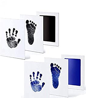 Babyprints Premium Inkless Newborn Handprint & Footprint 2 Kits -Safe no Contact with Ink Pad and Imprint Cards Print 6 Pack for Babies or Pets Photo or Picture Frames(0-6 Month)