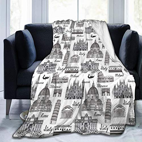 ZOANEN Soft Fleece Throw Blanket,Estilo de Dibujo Monocromo Lugares Famosos de Italia Roma Milano Arquitectura Europea,Home Hotel Sofá Cama Sofá Mantas para Parejas Niños Adultos,120x150cm