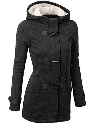 Annystore Womens Winter Wool Blended Hooded Jacket Duffle Toggle Pea Coat Outerwear with Pockets Deep Grey XXL